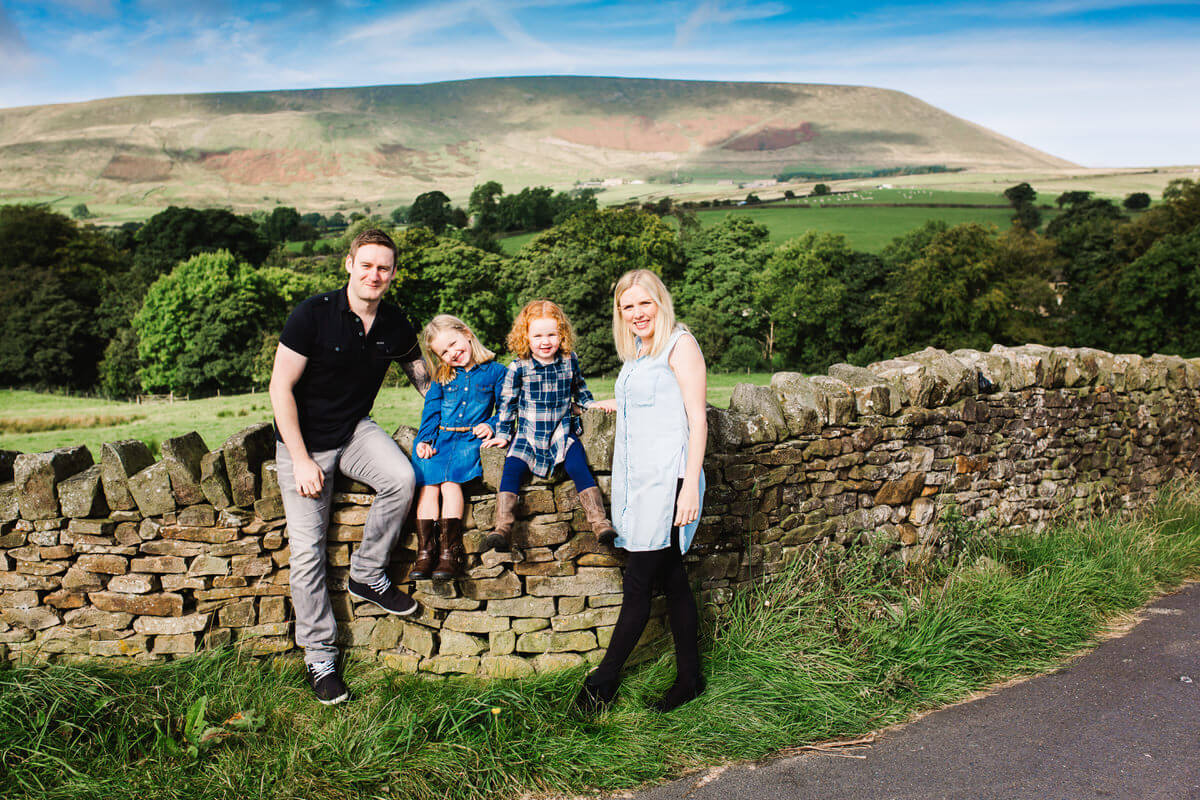 Family portrait at pendle hill lancashire