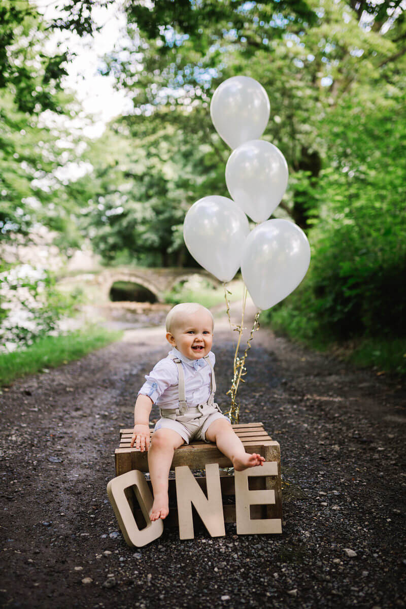First birthday photo shoot at wycollar country park lancashire